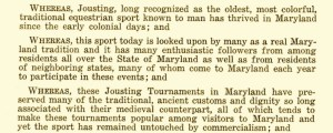 Maryland House Bill 80 recognizing jousting as the state sport of Maryland. Courtesy of the Maryland State Archives.